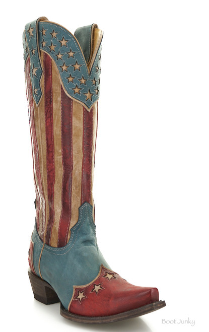 """YL 470-2 Yippee Ki Yay by Old Gringo Bloom Blue Red Patriotic 15"""" Leather Boots"""