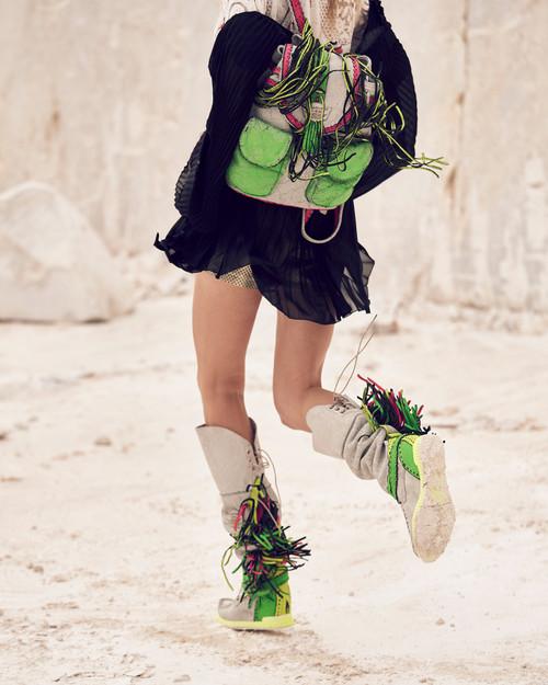 EL VAQUERO Delilah Kalahari Trifluo Neon Pink Lime Yellow Leather Wedge Moccasin Boots