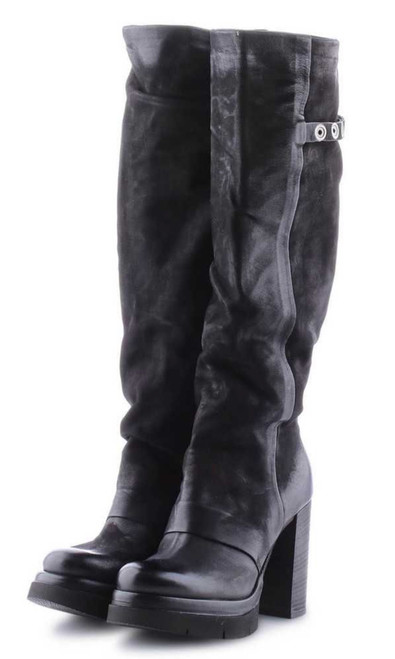 A.S.98 Folke Nero BLACK PLATFORM TALL LEATHER BOOTS