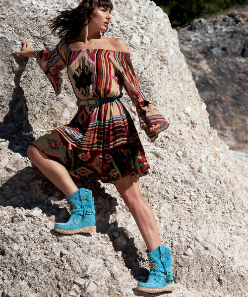 EL VAQUERO Yara Silverstone Marine Turquoise Wedge Moccasin Boots