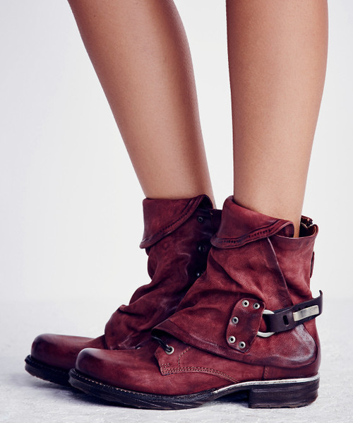 A.S.98 EMERSON CARDINAL RED LEATHER BOOTS