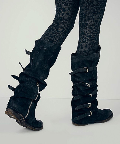 A.S.98 SHAYLYNN TATUM NERO BLACK LEATHER BOOTS