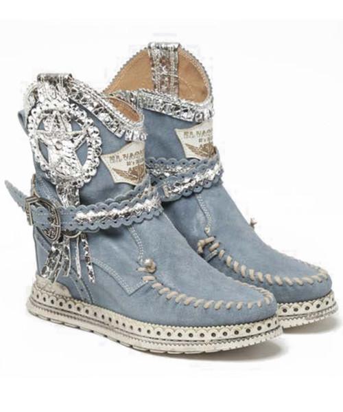 EL VAQUERO Lyanna Apex Dust Leather Wedge Moccasin Boots