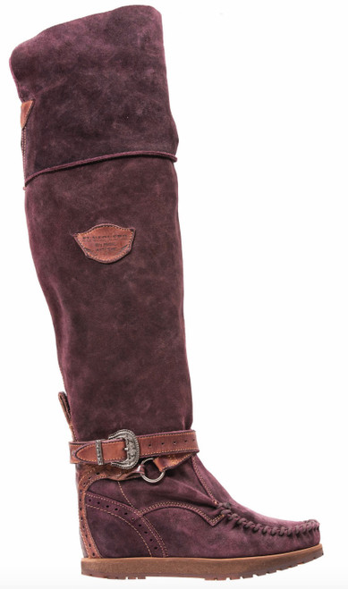 EL VAQUERO Huntress Wornout Bordeaux Leather Wedge Moccasin Boots