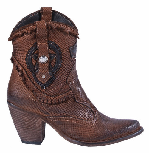 EL VAQUERO Shine Scaled Tan Leather Wedge Moccasin Boots