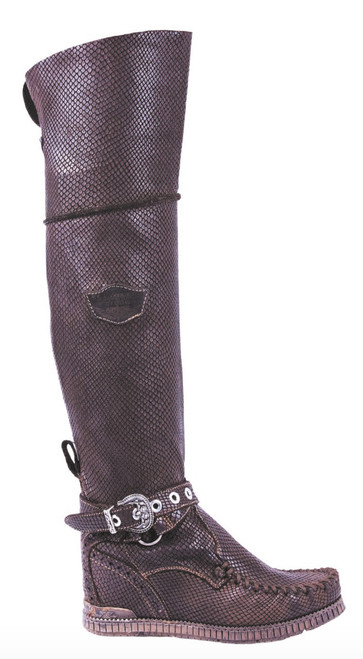 EL VAQUERO Huntress Silverstone Swart Leather Wedge Moccasin Boots