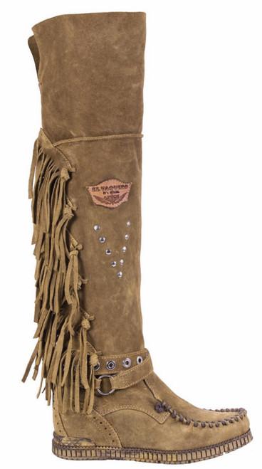 EL VAQUERO Delilah Silverstone Kaki Leather Wedge Moccasin Boots