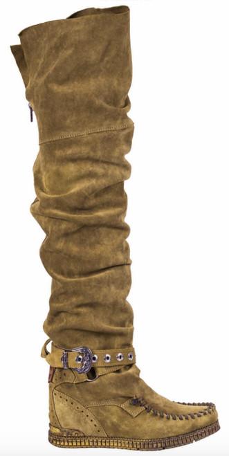 EL VAQUERO Maleficent Silverstone Kaki Leather Wedge Moccasin Boots