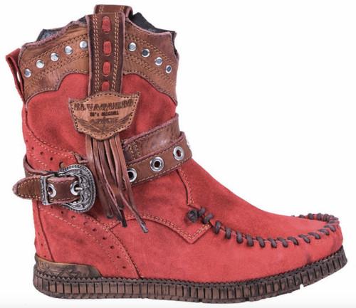 EL VAQUERO Claire Primus Red Leather Wedge Moccasin Boots