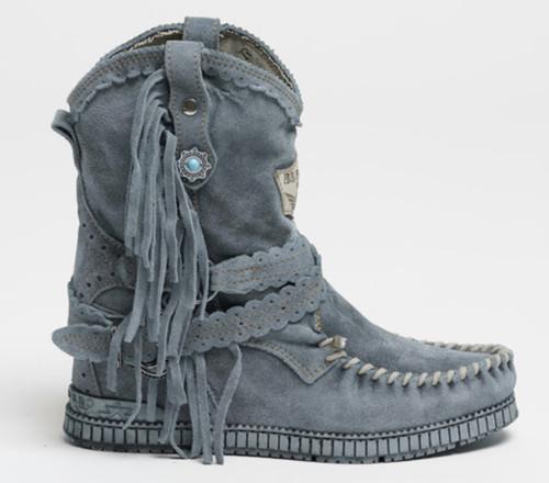 EL VAQUERO Arya Silverstone Avio Leather Wedge Moccasin Boots