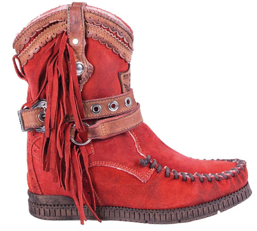 EL VAQUERO Arya Fur Silverstone Red Leather Wedge Moccasin Boots