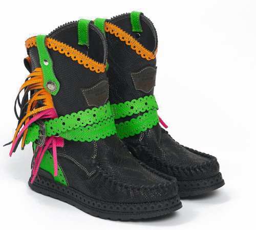 EL VAQUERO Arya Kalahari Fluotrip Leather Wedge Moccasin Boots