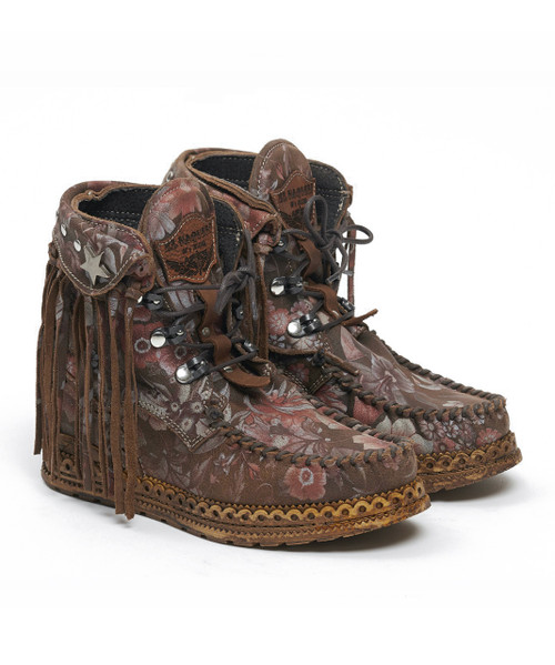 EL VAQUERO Grace Freedom Land Leather Wedge Moccasin Boots