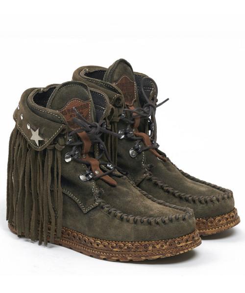 EL VAQUERO Grace Silverstone Bosco Leather Wedge Moccasin Boots