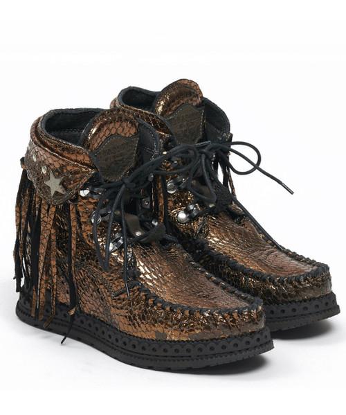 EL VAQUERO Grace Sparkling Bronze Leather Wedge Moccasin Boots