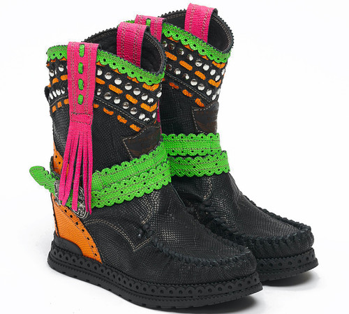 EL VAQUERO Yara Kalahari Fluotrip Leather Wedge Moccasin Boots