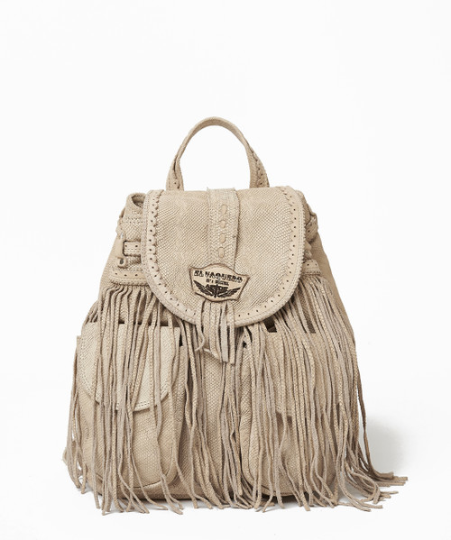 EL VAQUERO JOURNEY KALAHARI BISCUIT BEIGE FRINGE BACKPACK HANDBAG