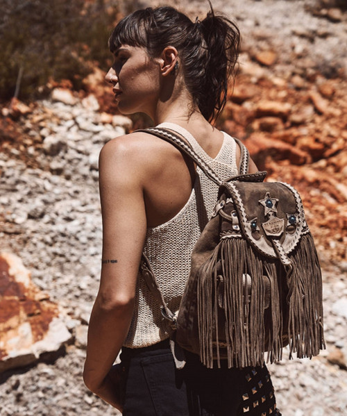 EL VAQUERO SUMMER KAMO HUNT FRINGE BACKPACK HANDBAG