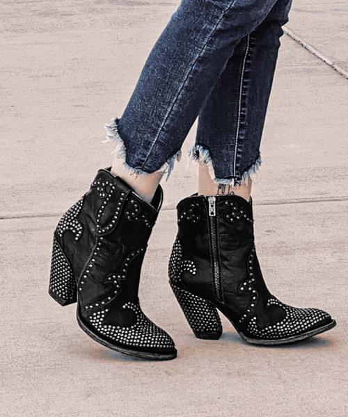 BL3436-1 OLD GRINGO DONNA PAVE MIDNIGHT BLACK RIVETED ANKLE BOOTS