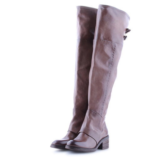 A.S.98 YOKO FONDENTE BROWN OVER THE KNEE LEATHER BOOTS