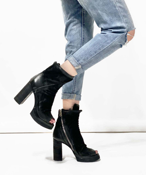 A.S.98 ULISES NERO BLACK BRUSHED LEATHER PLATFORM SANDALS