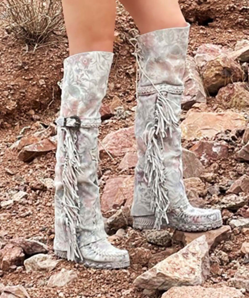 EL VAQUERO Coleen Freedom Snow Tall Leather Wedge Moccasin Boots