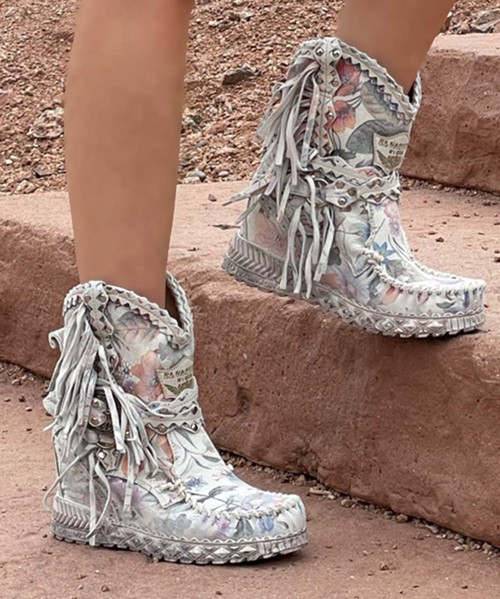 EL VAQUERO Arya Mocc Freedom Snow Wedge Moccasin Fringe Boots