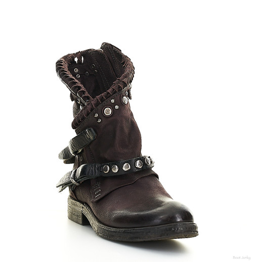 A.S.98 VIETS LIZ BROWN RIVETED LEATHER ANKLE BOOTS