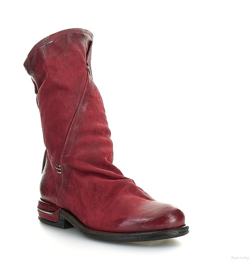 A.S.98 TAVIN CARDINAL RED SLEEK SLOUCHY LEATHER BOOTS