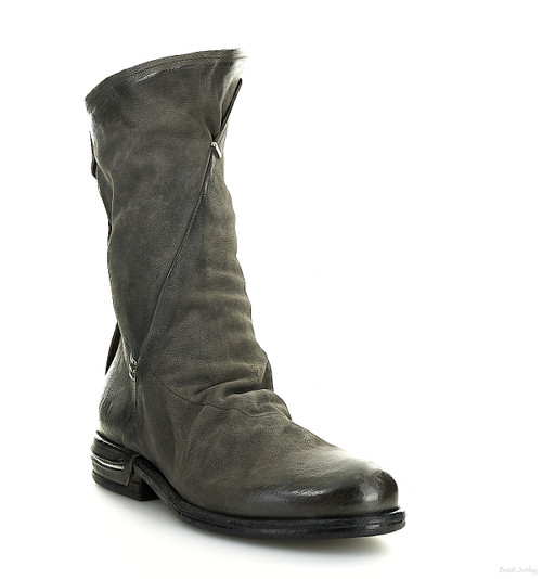A.S.98 TAVIN SMOKE GREY SLEEK SLOUCHY LEATHER BOOTS