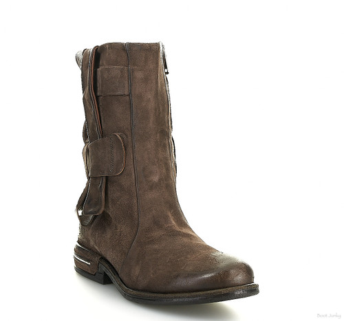 A.S.98 TOMAR FONDENTE BROWN BRAIDED LEATHER STRAPS ANKLE BOOTS