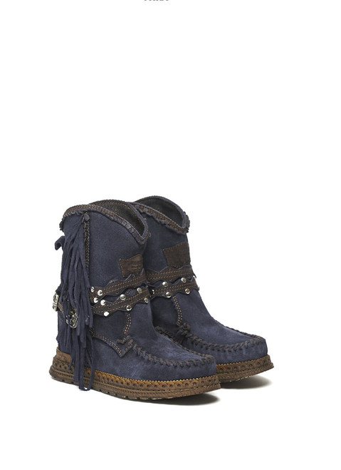 EL VAQUERO Arya Mocc Silverstone Aster Navy Blue Wedge Moccasin Boots