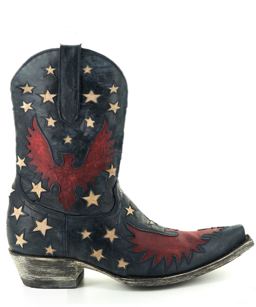 "L1627-8 OLD GRINGO EAGLE INLAY STAR NAVY VESUVIO RED TEXTURED BONE 10"" LEATHER BOOTS"