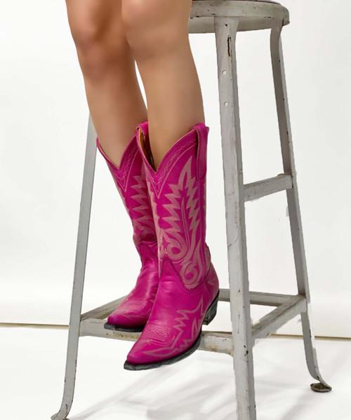 "L 175-552 OLD GRINGO NEVADA 15"" VINTAGE HOT PINK LEATHER BOOTS"