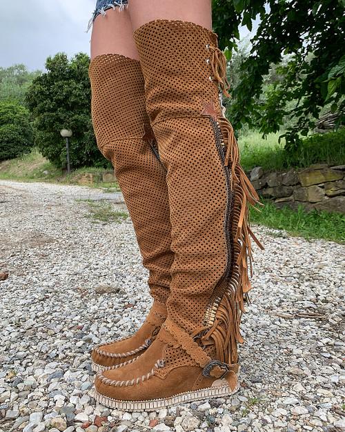 EL VAQUERO Crudelia Punch Mou Leather Wedge Moccasin Boots