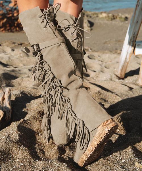 EL VAQUERO Coleen Drifter Silverstone Beige Tall Wedge Boots