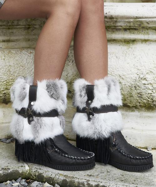 EL VAQUERO Martha Fur Black Punk Wedge Moccasin Boots