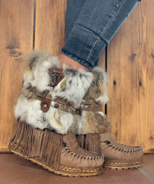 EL VAQUERO Martha Fur Kalahari Nilo Wedge Moccasin Boots