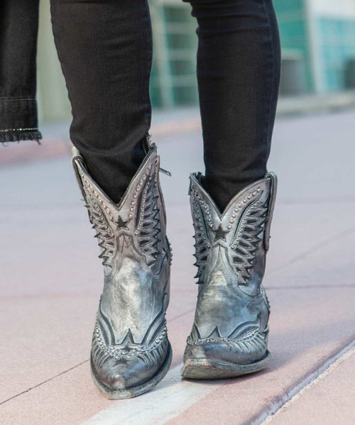 """BL3294-2 OLD GRINGO DAWN PIPIN BRUSHED SILVER BLACK 8"""" LEATHER BOOTS"""