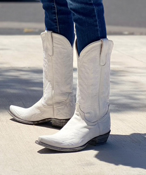 """L 175-557 OLD GRINGO NEVADA WINTER WHITE 13"""" LEATHER BOOTS"""