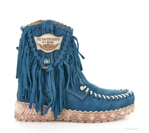 EL VAQUERO Cloe Silverstone Ink Leather Wedge Moccasin Boots