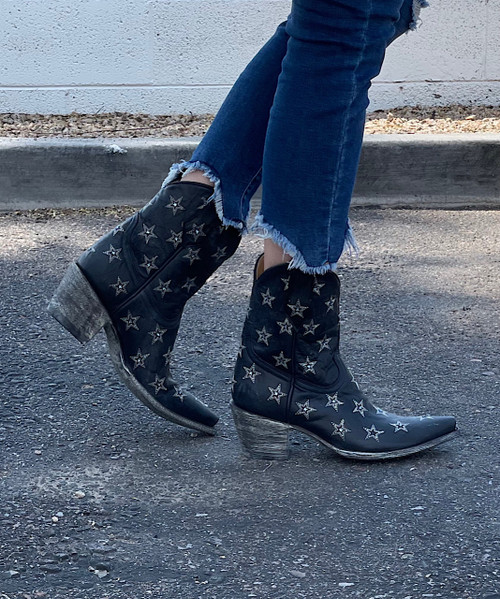 """L2308-6 OLD GRINGO LIBERTY STAR CRYSTAL 8"""" NAVY COWGIRL ANKLE BOOTS (Sintino 4 Toe/Sintino Heel)"""