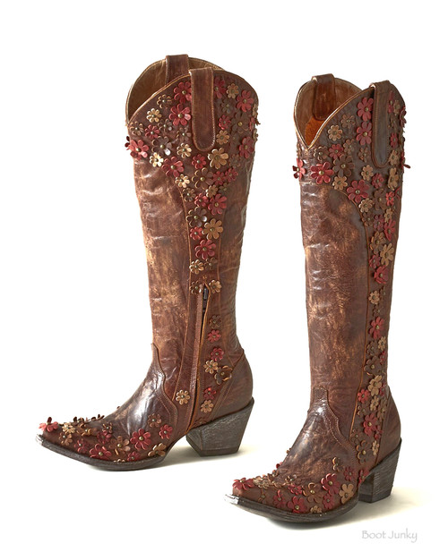 """L3090-2 OLD GRINGO HIPPIE CHICK DIANA BRASS FLORAL 18"""" TALL LEATHER BOOT"""