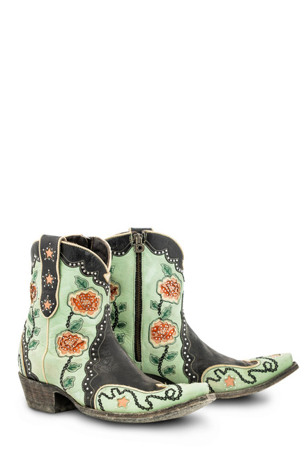 "DDBL089-1 DOUBLE D RANCH DON'T FENCE ME IN TURQUOISE BLACK CRYSTAL 6"" BOOTS"