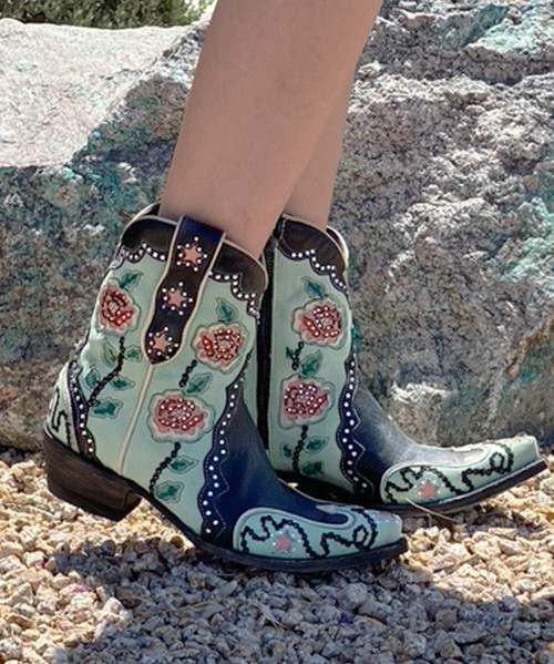 """DDBL089-1 DOUBLE D RANCH DON'T FENCE ME IN TURQUOISE BLACK CRYSTAL 6"""" BOOTS"""