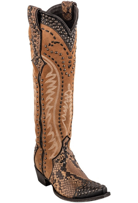 DDL083-1 DOUBLE D RANCH SNAKE CHARMER TALL LEATHER BOOTS