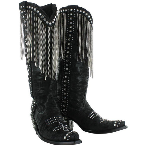 DDL075-1 DOUBLE D RANCH NASHVILLE SWING BLACK CRYSTAL LADIES BOOTS