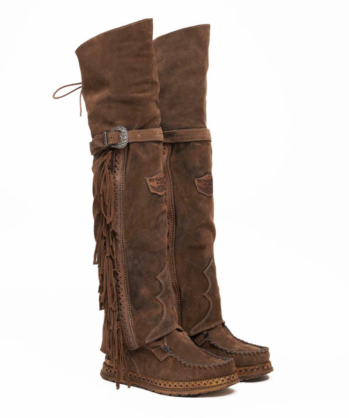 EL VAQUERO Coleen Drifter Silverstone Sierra Leather Wedge Moccasin Boots