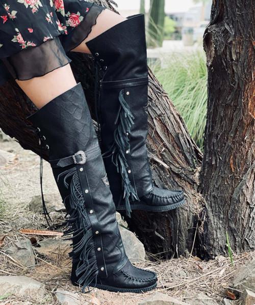 EL VAQUERO Coleen Drifter Kalahari Black Wedge Moccasin Boots