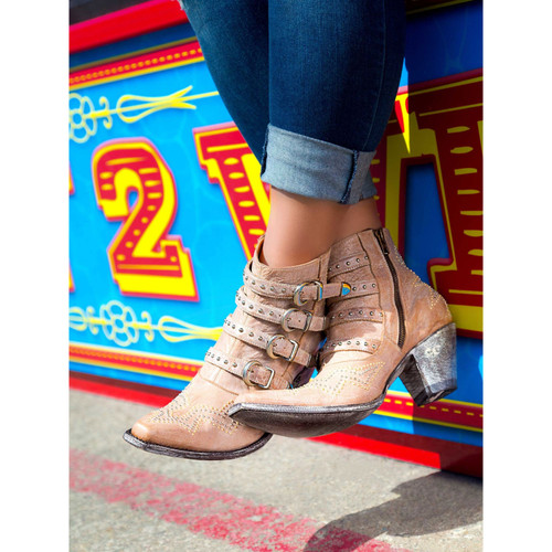 """BL2794-5 OLD GRINGO ROXY 5"""" BEIGE LEATHER ANKLE BOOTS"""